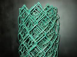 10 Long 4 High Section Of Green Vinyl Coated Chain Link Fence Fabric 9 Gauge Ebay