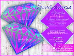 Invitacion En Forma De Diamante Con Papel Holografico Xv Diamond