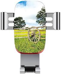 Metal Automatic Car Phone Holder Barn Wood Wagon Wheel Fresh Green Meadow Ranching Fences Lush Growth Rural Lands Adjustable 360 Degree Rotation Car Phone Holder Compatible With 4 6 2 Inch Smartphone Amazon Co Uk Electronics