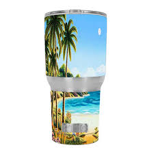 Skin Decal For Rtic 30 Oz Tumbler Cup 6 Piece Kit Beach Water Palm Trees For Sale Online
