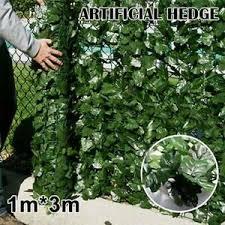 Wall Artificial Ivy Leaf Hedge Screening Roll Garden Fence Balcony Privacy 1x3m Ebay