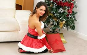 Wallpaper girl, gift, tree, costume, New year, Christmas, New Year ...