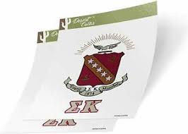 Sigma Kappa Letter 2 Pack Crest Sticker Ebay