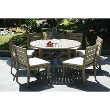 eucalyptus wood patio dining set round