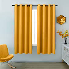 Amazon Com Yellow Curtains 63 Inch Length For Girls Room 2 Panels Window Drapes Grommet Room Darkening Thermal Light Blocking Insulated Blackout Curtains For Bedroom Kids Room 52 X 63 Inches Long Kitchen Dining
