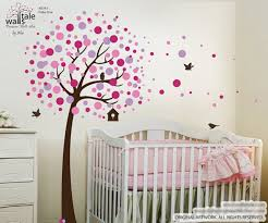 Cherry Tree Wall Decal With Birds For Nursery