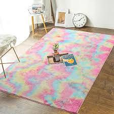 Amazon Com Andecor Soft Girls Room Rugs 3 X 5 Feet Fluffy Rainbow Area Rug For Kids Baby Room Bedroom Nursery Home Decor Large Floor Carpet Rainbow Home Kitchen