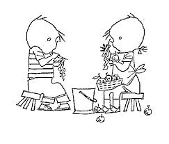 Kids N Fun Kleurplaat Jip En Janneke Samen Appels Schillen