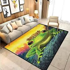 Amazon Com Animal Children Boys Girls Bedroom Rugs Frog Prince With His Golden Crown On The Rocks Fairytale Soul Mates Illustration Carpet Sliders For Exercise Carpet For Rooms Green Yellow 5 X 7