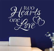 Romantic Bedroom Wall Decal Two Hearts One Love Vinyl Wall Lettering Two Hearts One Love Vinyl Lettering