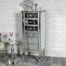 tall 6 drawer mirrored tallboy chest of