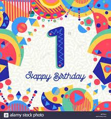 Feliz Cumpleanos Primer Ano 1 Un Diseno Divertido Con Numero
