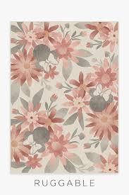 Minnie Floral Rosewood Washable Rug Disney Rug Floral Rug Ruggable