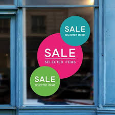 Amazon Com Window Stickers Sale Circle Retail Display Sign Removable Vinyl Decal Promotional Shop Sale Window Cling Sale Retail Display Home Kitchen