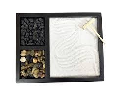 zen garden with 2 types of rocks sand