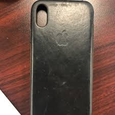 apple iphone x leather case black