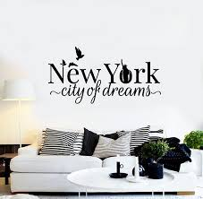 Vinyl Wall Decal Ny New York City Of Dreams Statue Of Liberty Birds St Wallstickers4you