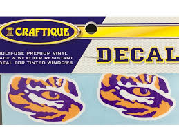 Lsu Tigers 2 Die Cut Tiger Eye Premium Vinyl Decals 2 Per Pack Purple And Gold Sports