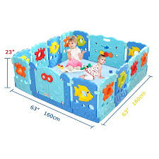 14 Panel Baby Playpen Kids Safety Playard Activity Centre Home Indoor Outdoor Sea World Theme Walmart Com Baby Playpen Kids Activity Center Play Yard