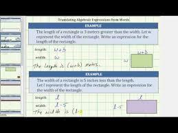 translating algebraic expressions from