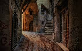Download Wallpapers Perugia Old Houses Street Sunset Summer