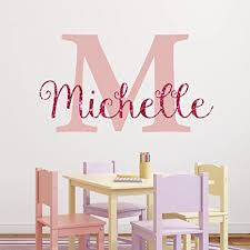 Amazon Com Nursery Pink Sparkle Custom Name Wall Decal Sticker 23 W By 13 H Girl Name Wall Decal Girls Name Wall Decor Personalized Girls Name Decor Nursery Bedroom Plus Free Hello Door