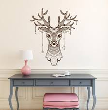 Deer Wall Decal Deer Head Vinyl Decal Deer Antler Decals Boho Etsy