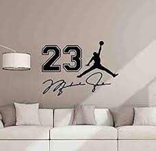 Amazon Com Michael Jordan Wall Decal 23 Sign Air Jordan Signature Poster Jumpman Wall Decor Basketball Wall Art Gym Vinyl Sticker Children Gift Fitness Print 1033 Arts Crafts Sewing
