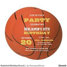 Basketball Birthday Round Invitation Zazzle Com Invitaciones