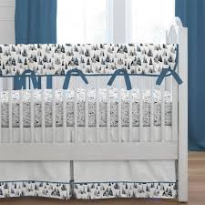 blue woodland mountains crib bedding