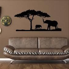 Elephants And Tree African Safari Savannah Vinyl Wall Decal 22344 Cuttin Up Custom Die Cuts