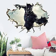 Amazon Com Black Panther Wall Decal Cartoon 3d Marvel Wall Stickers Avengers Cartoon For Kids Bedroom Wall Decor 50 70 Cm Pvc Removable Kitchen Dining