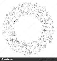 Unicorn Frame Katten Hond Paard Pony Vector Afbeelding