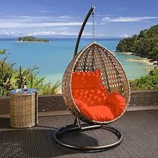 outdoor hanging chair brown rattan