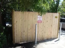 1 Grade Cedar Stockade Dumpster Enclosure With Steel Bollards Reliable Fence