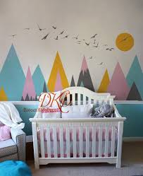 Mountains Decals For Kids Room Mountain Sticker For Nursery Mountain Mural Mountain Wall Decal Mountain Decal Set With Sun Birds Dk326 In 2020 Mountain Wall Decal Kids Room Murals Nursery Wall Decals