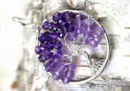 tree of life pendant in shaded amethyst