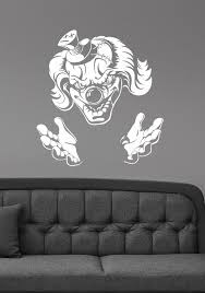 Scary Clown Wall Decal Evil Jester Vinyl Sticker Sinister Etsy