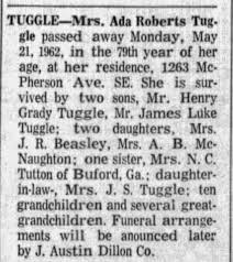 Obituary for Ada Roberts TUGGLE (Aged 79) - Newspapers.com