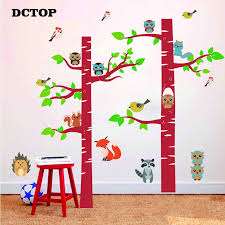 Birch Tree Forest Animal Wall Stickers Cartoon Owl Bird Squirrels Fox Porcupine Raccoon Decal Home Decor Children Kid Room Mural Wall Stickers Aliexpress