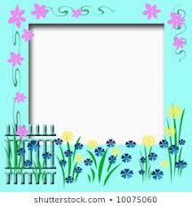 Garden Fence Flowers Vines Border Cutout Stock Illustration 10075060