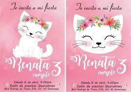 Invitacion Cumpleanos Gatito Rosa Nina 3 Anos Cute Birthday