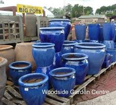 small blue glazed pots planters large