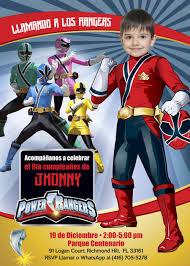 Invitacion De Cumpleanos Power Rangers Fiesta Power Rangers