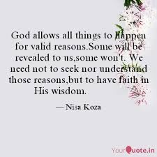god allows all things to quotes writings by nisa koza