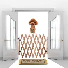 Yinitoo Dog Safety Gate Indoor Wooden Retractable Dog Fence Pet Gate Guard Portable Folding Dog Sliding