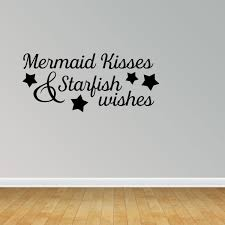 Wall Decal Quote Mermaid Kisses And Starfish Wishes Vinyl Sticker Home Decor Pc458 Walmart Com Walmart Com