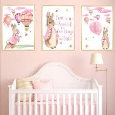 Pink Peter Rabbit And Hot Air Balloons Nursery Art Print Set Etsy