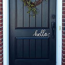 Battoo Hello Wall Decal Farmhouse Wall Decor Hello Door Decal Vinyl Lettering For Front Door Country Cottage Decor 9 X 4 White Amazon Com