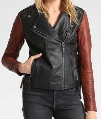 brown sleeves black leather moto jacket